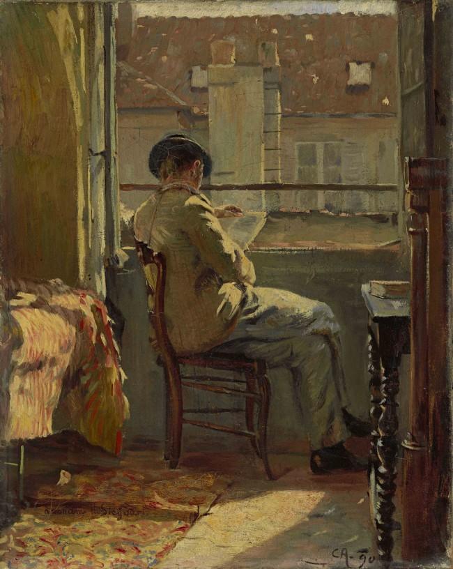 Cuno Amiet, Giovanni Giacometti legge alla finestra - Prigi (Giovanni Giacometti am Fenster lesend – Paris)