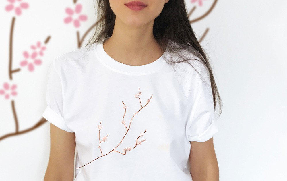 Melidé, Ramo di ciliegio. T-shirt ecosostenibile, handmade e made in Italy