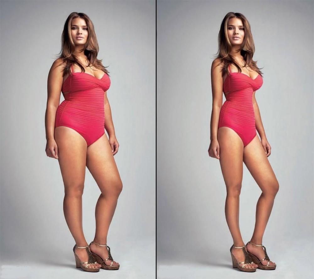 Modella curvy, fotoritocco.
