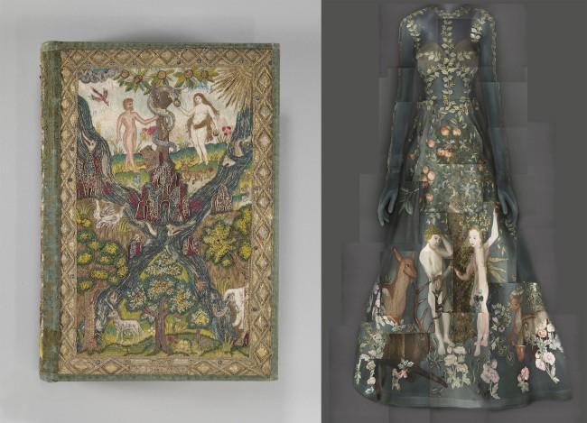 Heavenly Bodies: Fashion and the Catholic Imagination. Bibbia del 1607 e abito da sera Valentino Haute Couture Spring-Summer 2014