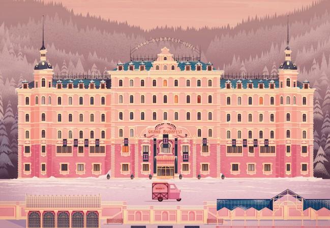 Illustration by James Gilleard. Inspired by Grand Budapest Hotel. Millennial Pink, non solo un colore ma un atteggiamento