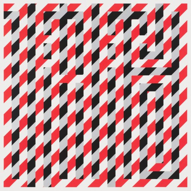 L'Atlas, Signal, 2017. Spray su tela, 120 x 120 cm. Wunderkammern (Milano), artista L'Atlas, CRYPTOGRAMS.