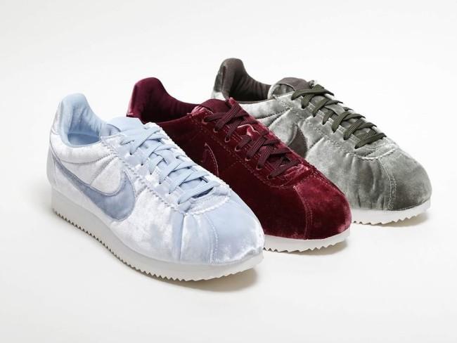Nike sneakers in velluto. Scarpe donna in 5 tonalità: dal bianco, al malva, fino al bordeaux.