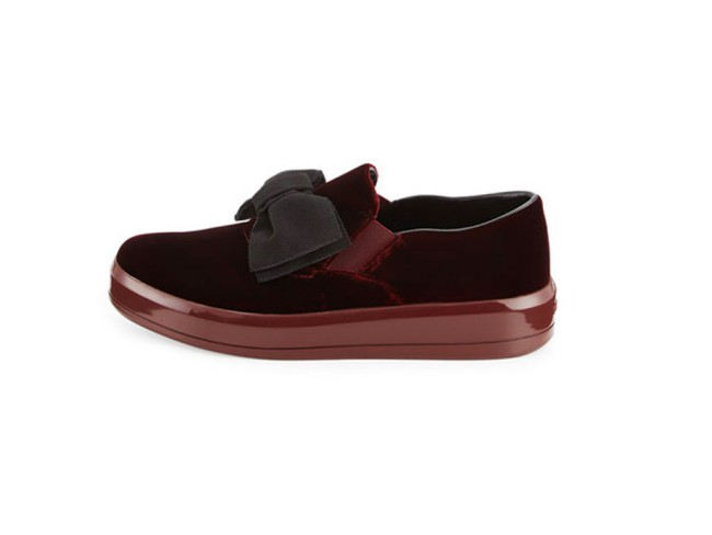 Prada sneakers in velluto bordeaux