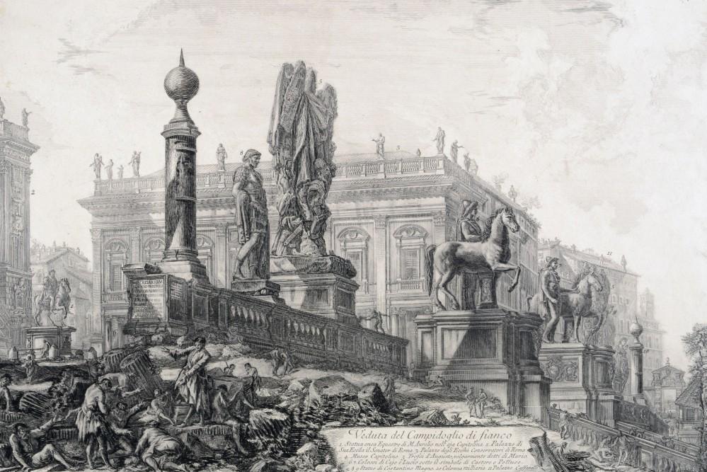 """G. B. Piranesi, Veduta del Campidoglio, 1761-1778, Museo di Roma, inv. MR 2633. Ai Musei Capitolini di Roma la mostra """"Il Tesoro di Antichità. Winckelmann e il Museo Capitolino nella Roma del Settecento"""""""