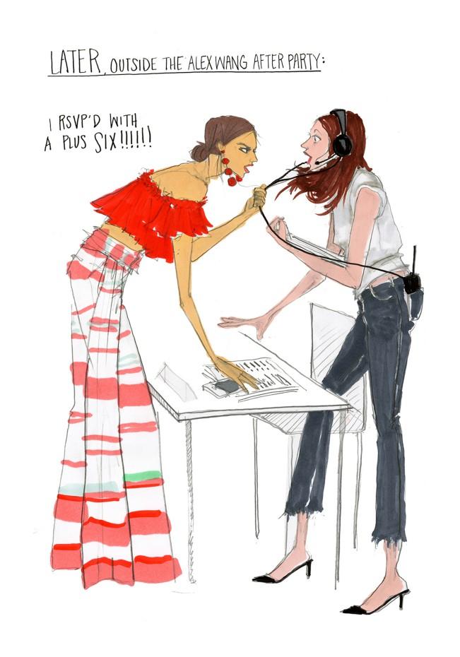 Julie Houts, fashion month guide, illustrazione per Shopbob. Julie Houts era balzata agli onori delle cronache per un progetto dissacrante sulla fashion week. L'illustratrice e designer torna con Literally me...