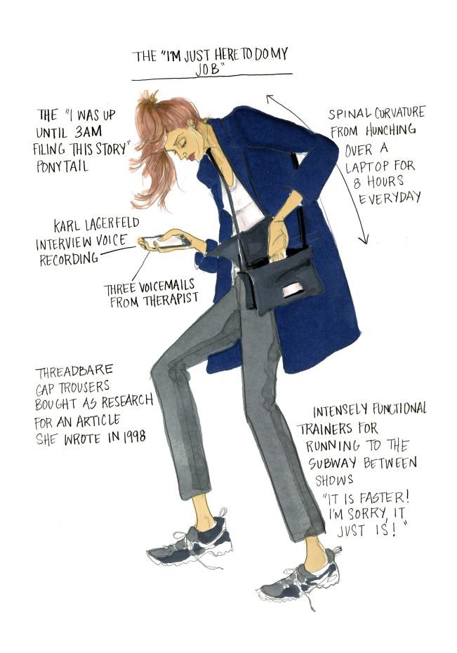 """Julie Houts, The """"I'm just here to do my job"""". Fashion month guide, illustrazione per Shopbob. Julie Houts era balzata agli onori delle cronache per un progetto dissacrante sulla fashion week. L'illustratrice e designer torna con Literally me..."""