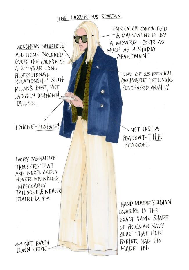 Julie Houts, The Luxurious Spartan. Fashion month guide, illustrazione per Shopbob. Julie Houts era balzata agli onori delle cronache per un progetto dissacrante sulla fashion week. L'illustratrice e designer torna con Literally me...