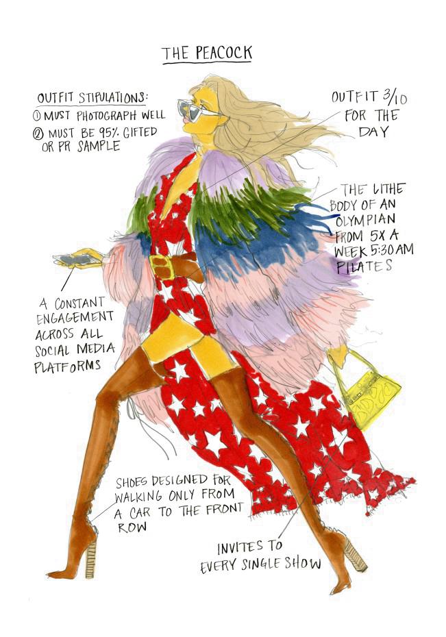 Julie Houts, The Peacock. Fashion month guide, illustrazione per Shopbob. Julie Houts era balzata agli onori delle cronache per un progetto dissacrante sulla fashion week. L'illustratrice e designer torna con Literally me...
