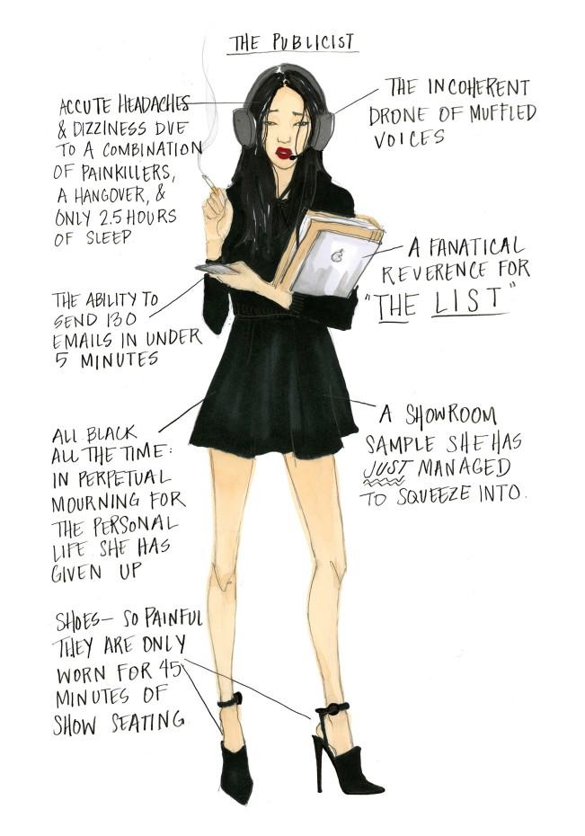 Julie Houts, The Publicist. Fashion month guide, illustrazione per Shopbob. Julie Houts era balzata agli onori delle cronache per un progetto dissacrante sulla fashion week. L'illustratrice e designer torna con Literally me...