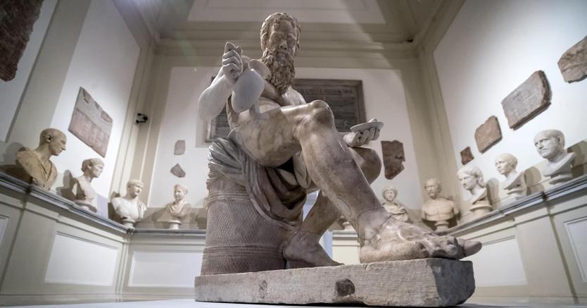 """Una stanza della mostra """"Il Tesoro di Antichità. Winckelmann e il Museo Capitolino nella Roma del Settecento"""" ai Musei Capitolini di Roma"""