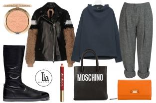 Thy Outfit #14 – Comfy Street: pantaloni in lana Acne Studios, stivali bassi Benetton, top Cos, giubbotto biker N°21, borsa Moschino, portafoglio Carpisa, lipliner Neve Cosmetics, cipria illuminante MAC Milano