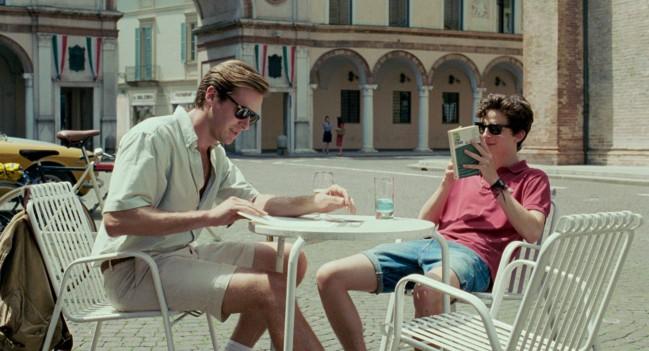 Chiamami col tuo nome, film di Luca Guadagnino. Armie Hammer (Oliver) e Timothée Chalamet (Elio) in una scena del film