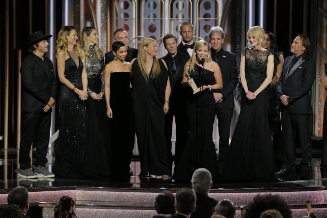 Golden Globe 2018. Premiazione Big Little Lies come Miglior miniserie TV. Laura Dern, Nikole Kidman, Zoë Kravitz, Reese Witherspoom e Shailene Woodley