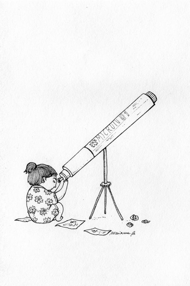 Marianna Balducci, disegni omaggio al rapidograph Pigma Micron 01
