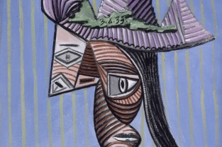 """Pablo Picasso, Buste de femme au chapeau rayé, 1939. La mostra a Palazzo Ducale di Genova """"Capolavori del museo Picasso, Parigi"""""""