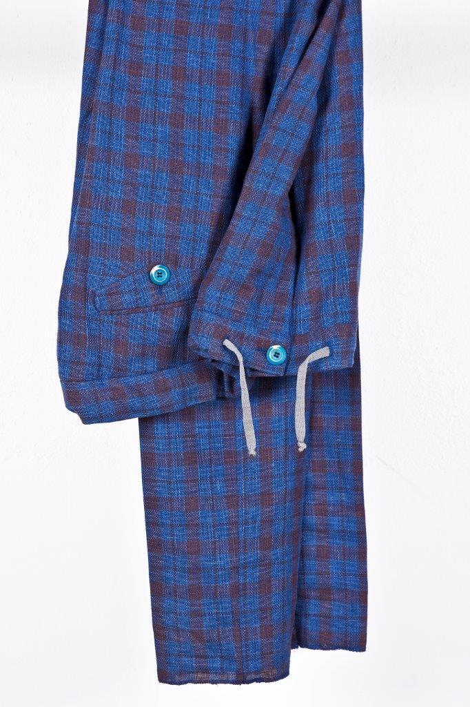 Alessandro Gilles, collezione Primavera Estate 2018. Completo in lino e cotone con motivo check (giacca)