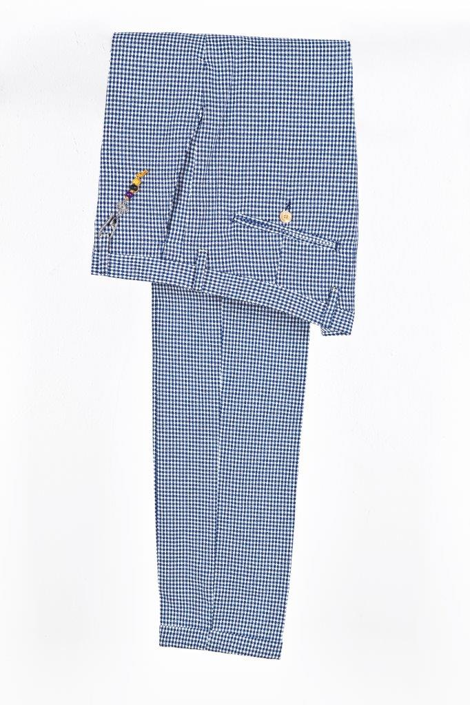 Alessandro Gilles, collezione Primavera Estate 2018. Completo in lino e cotone vichy (pantalone)