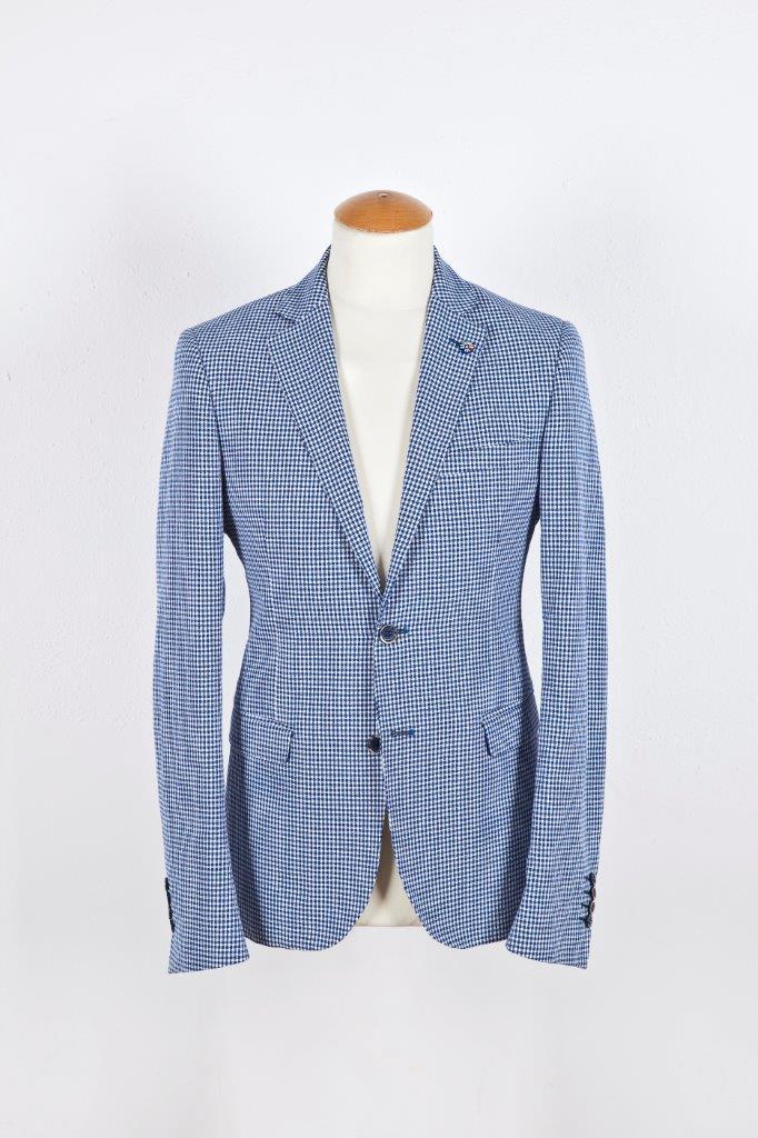 Alessandro Gilles, collezione Primavera Estate 2018. Completo in lino e cotone vichy (giacca)