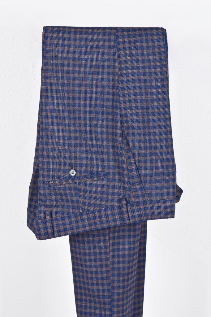 Alessandro Gilles, collezione Primavera Estate 2018. Completo in pura lana stretch a quadretti (pantalone)