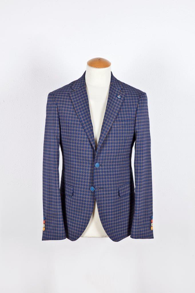 Alessandro Gilles, collezione Primavera Estate 2018. Completo in pura lana stretch a quadretti (giacca)