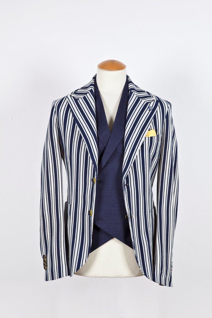 Alessandro Gilles, collezione Primavera Estate 2018. Giacca in jersey gessatone