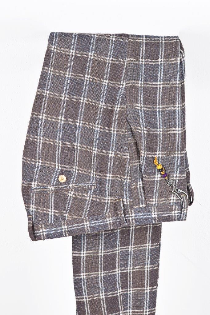 Alessandro Gilles, collezione Primavera Estate 2018. Completo in lino e cotone a quadri (pantalone)