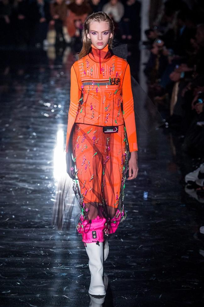 Prada Autunno Inverno 18-19 Milano Fashion Week, tendenze moda donna. Foto: imaxtree