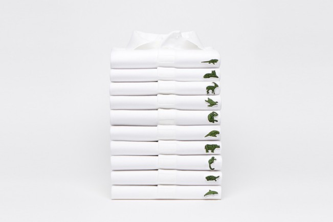 Lacoste Capsule Collection 2018. Polo bianca con animali in via di estinzione