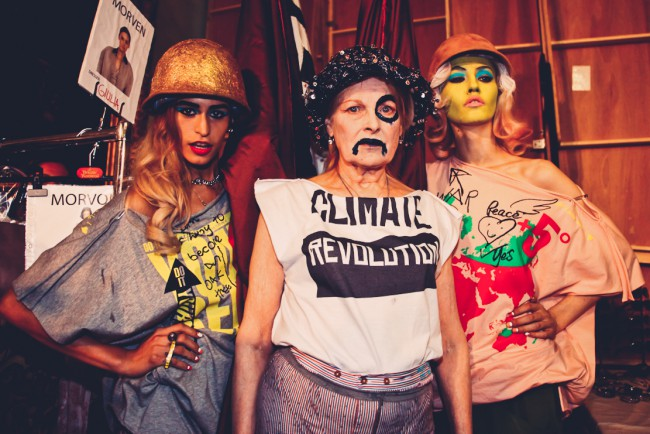 "T-shirt ""Climate Revolution"" by Vivienne Westwood. Vivienne Westwood backstage protesting by Marta Lamovsek"