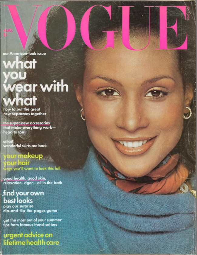 Vogue magazine cover featuring Beverly Johnson, 1974, Francesco Scavullo