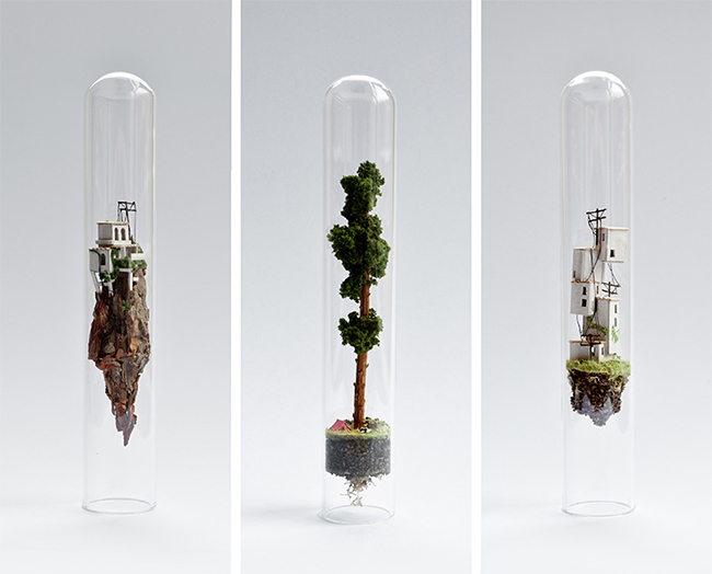 Micro Matter Miniature Sculptures in Glass Test Tubes by Rosa de Jong | Sculture in miniatura sotto vetro