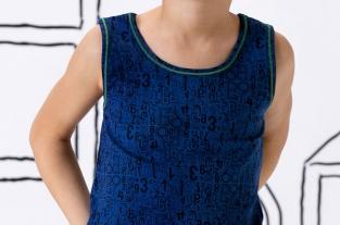 Canottiera blu a spalla larga Cotonella - moda bimbo.
