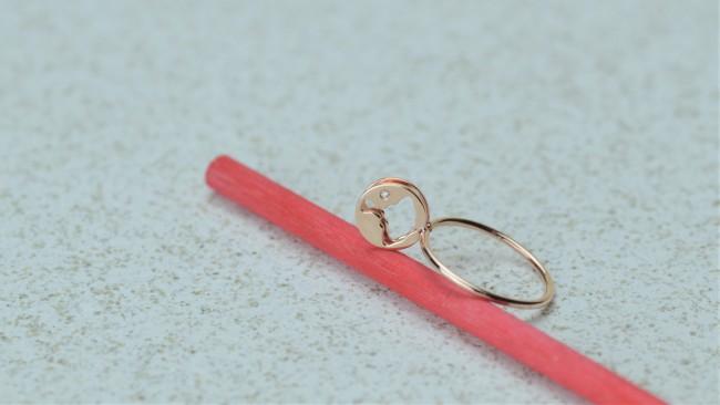 Manigiò anello trottola anello disco small in oro rosa 9 Kt diamante