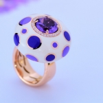 Manigiò Bulles anello in oro rosa 18 Kt diamanti e ametista