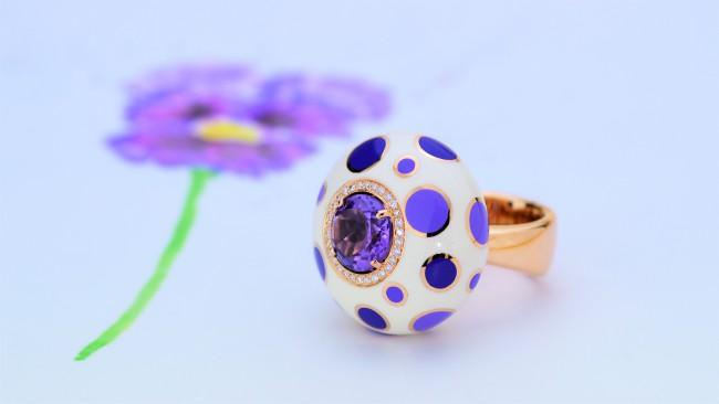 Manigiò Bulles anello in oro rosa 18 Kt diamanti ametista