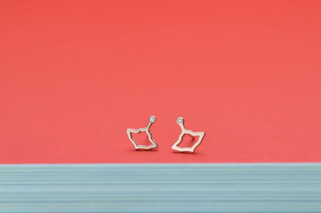 Manigiò orecchini trottola small in oro rosa 9 Kt diamante