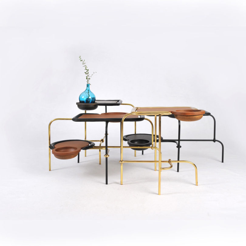 Compound Table Set Coffee Table and Side Table by Apiwat Chitapanya
