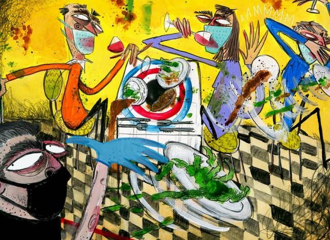 Illustrazione sul Covid-19, sulla riapertura dei ristoranti a maggio 2020 e sul distanziamento sociale