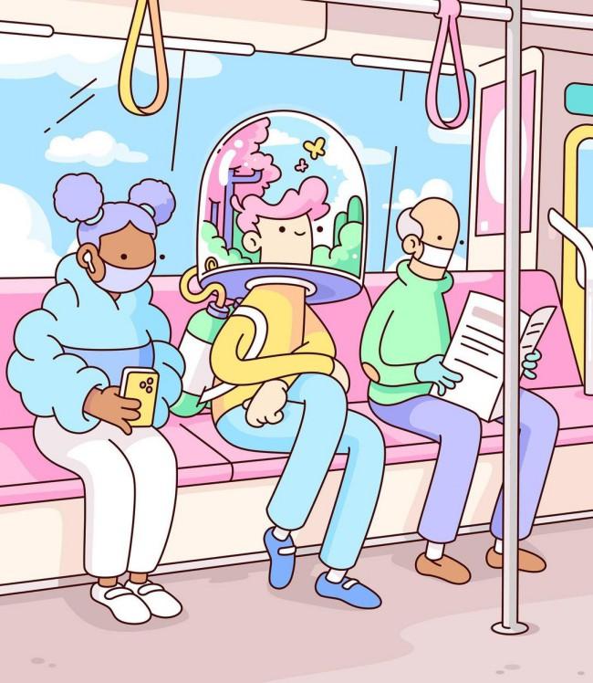 Illustrazioni a tema Covid-19 con mascherine protettive e casco di protezione sui mezzi pubblici