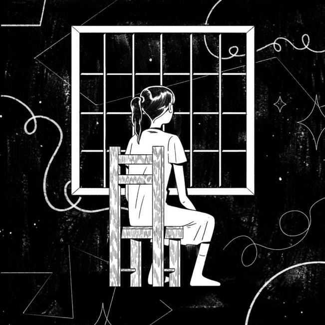 Illustrazione a tema Covid-19 sull'isolamento da quarantena con ragazza che guarda dalla finestra durante il primo lockdown
