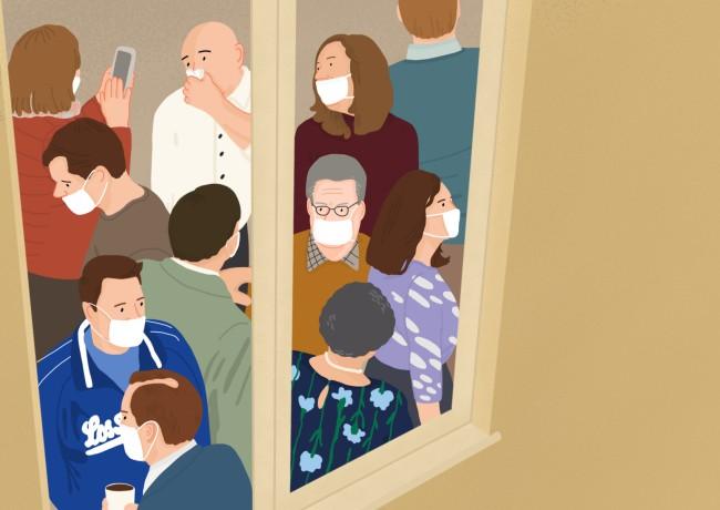 Illustrazione a tema Covid-19 realizzata a febbraio 2020, all'inizio della prima ondata del nuovo coronavirus, quando il bilancio complessivo dei morti era di oltre 1000 in tutto il mondo