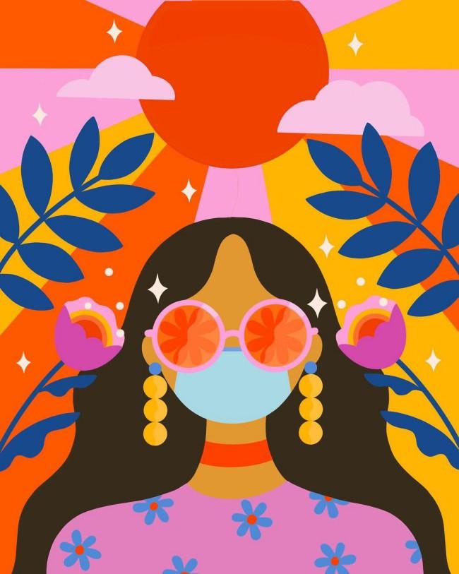 Illustrazione a tema Covid-19 di ragazza con mascherina protettiva