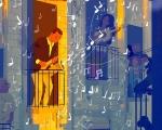 Illustrazione a tema Covid-19 di performances e canti corali dai balconi, immagini di comunità ritrovate, in un momento di grande incertezza